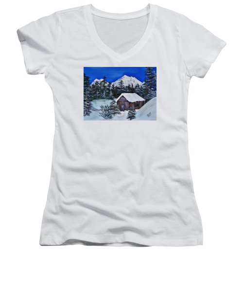 Women's V-Neck featuring the  Snow Falling On Cedars by Barbara St Jean