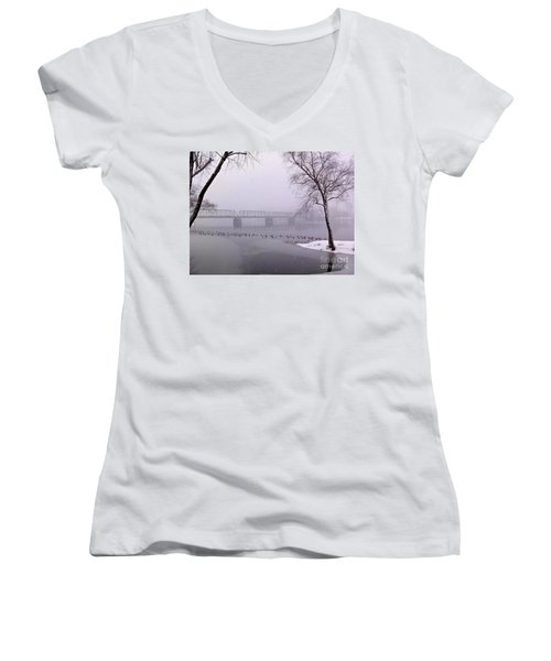 Snow From Lewis Island Bridge Women's V-Neck (Athletic Fit)
