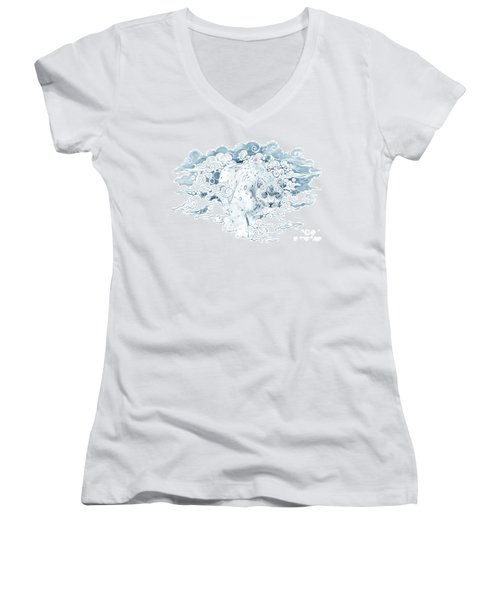 Ghost Cat Women's V-Neck (Athletic Fit)