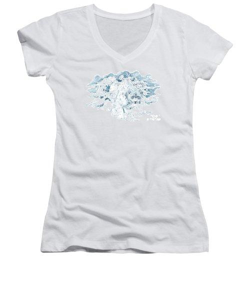 Ghost Cat Women's V-Neck T-Shirt
