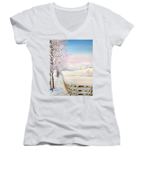 Snow Path Women's V-Neck T-Shirt (Junior Cut) by Inese Poga