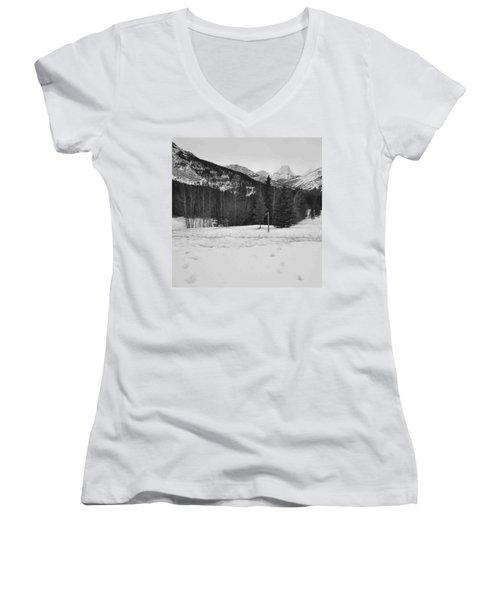 Snow Prints Women's V-Neck T-Shirt (Junior Cut) by Cheryl Miller