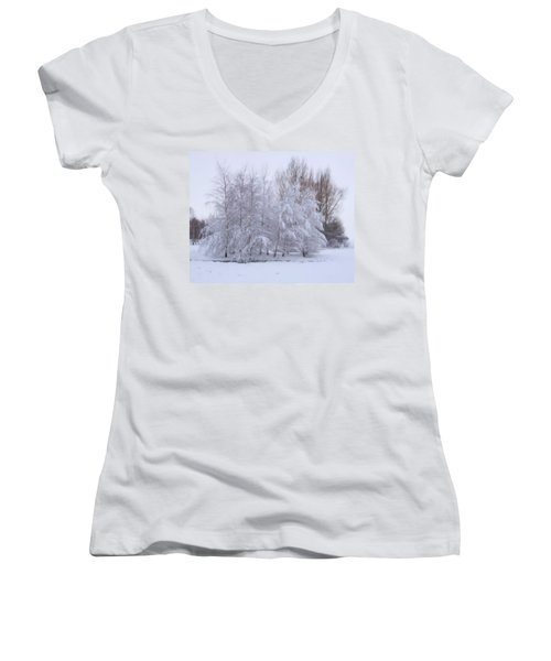 Snow Trees Women's V-Neck (Athletic Fit)