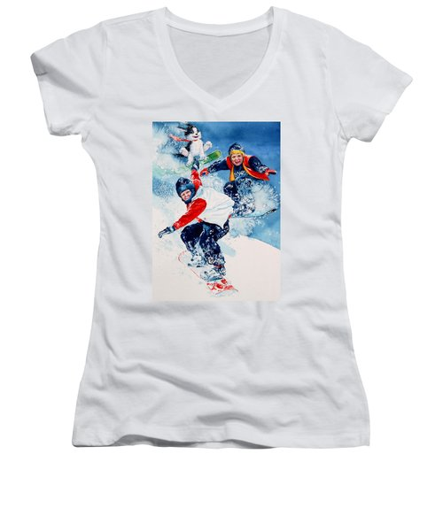 Women's V-Neck (Athletic Fit) featuring the painting Snowboard Super Heroes by Hanne Lore Koehler