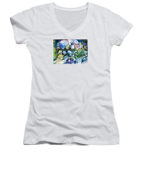Snowdrops On A Kitchen Dresser Women's V-Neck T-Shirt (Junior Cut) by Trudi Doyle