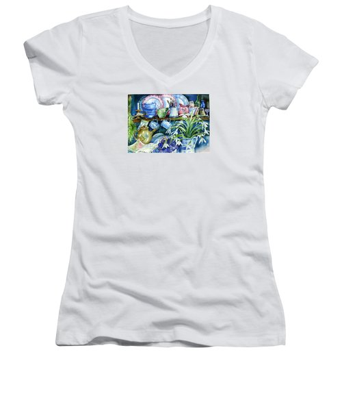 Snowdrops On A Kitchen Dresser Women's V-Neck T-Shirt