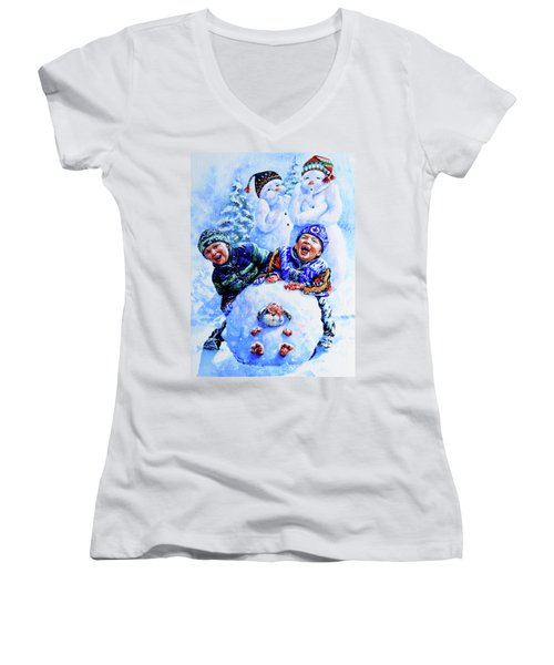 Women's V-Neck (Athletic Fit) featuring the painting Snowmen by Hanne Lore Koehler