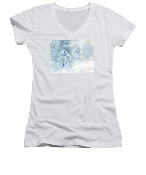 Snowstorm Women's V-Neck T-Shirt (Junior Cut) by Joy Nichols