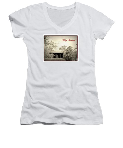 Snowy Christmas Women's V-Neck T-Shirt