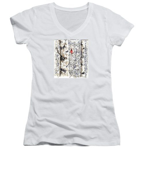 Snowy Hello Women's V-Neck (Athletic Fit)