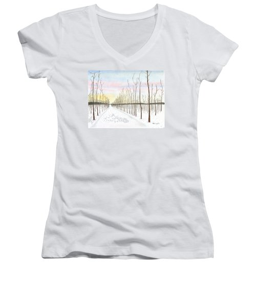 Women's V-Neck T-Shirt (Junior Cut) featuring the drawing Snowy Lane by Arlene Crafton