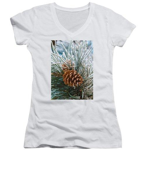 Snowy Pine Cones Women's V-Neck T-Shirt