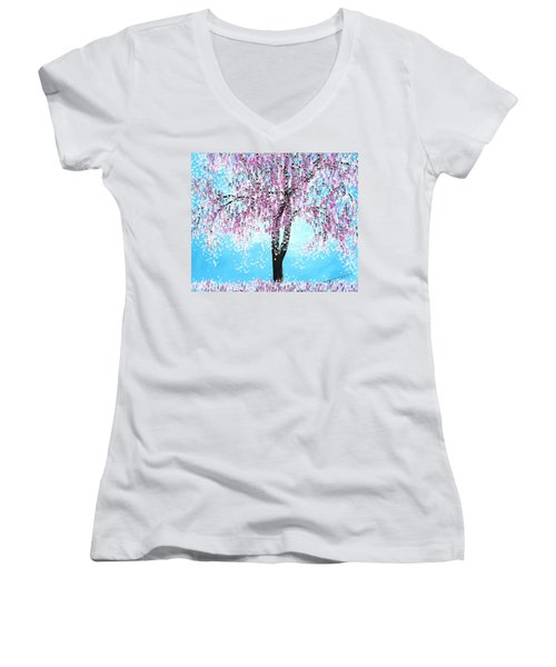 So Spring Women's V-Neck T-Shirt (Junior Cut) by Kume Bryant