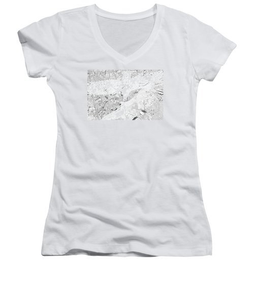 Soaring Hawks Indian Spirit White Gold Women's V-Neck T-Shirt (Junior Cut) by Deprise Brescia