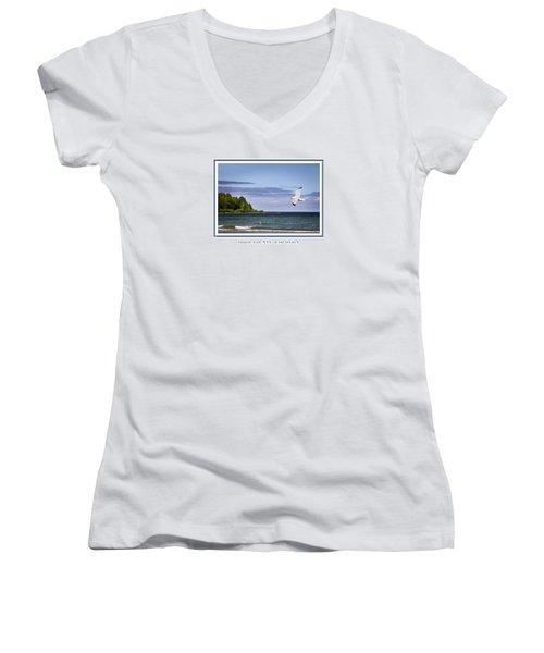 Soaring Over Door County Women's V-Neck T-Shirt (Junior Cut) by Barbara Smith