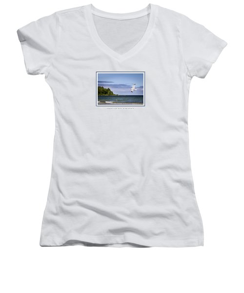Soaring Over Door County Women's V-Neck T-Shirt
