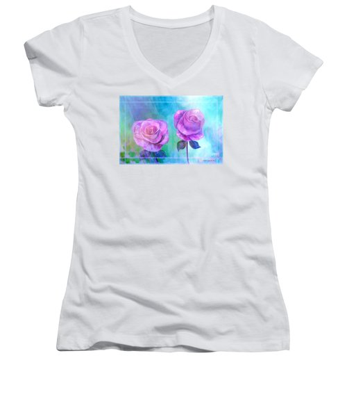 Soft And Beautiful Roses Women's V-Neck T-Shirt (Junior Cut) by Annie Zeno