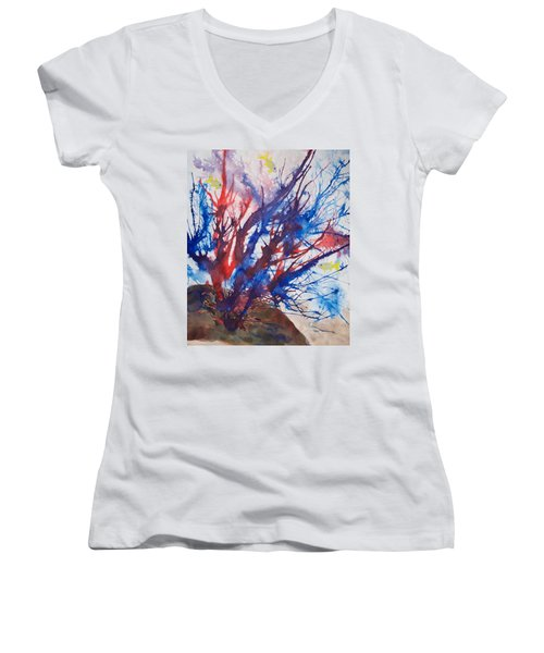 Soft Coral Splatter Women's V-Neck T-Shirt (Junior Cut) by Patricia Beebe