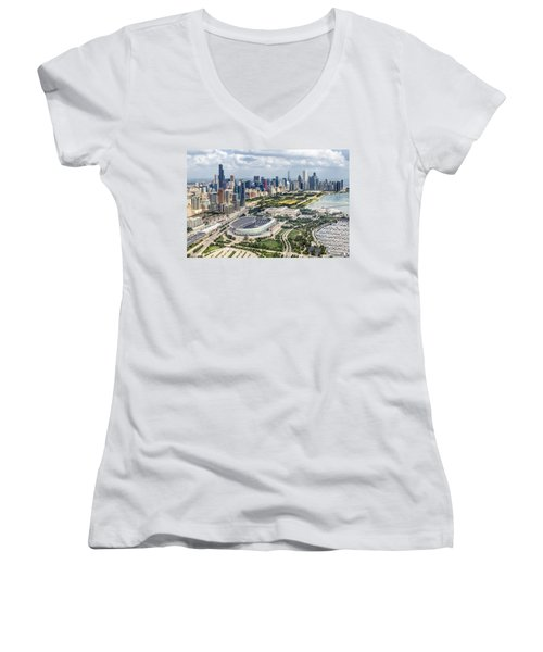 Soldier Field And Chicago Skyline Women's V-Neck T-Shirt