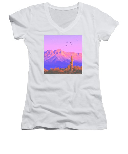 Women's V-Neck T-Shirt (Junior Cut) featuring the painting Solitary Silent Sentinel by Sophia Schmierer