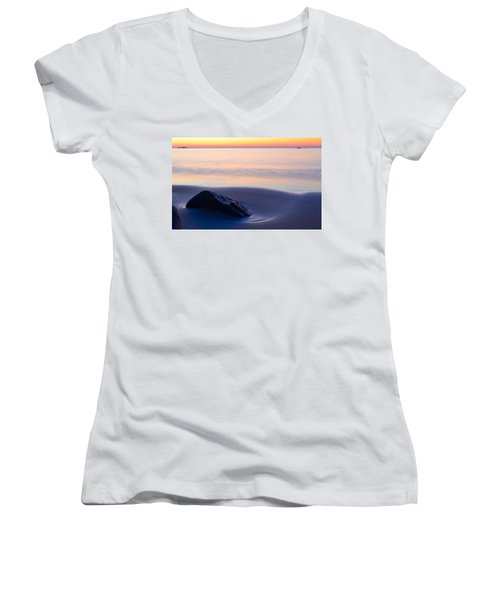 Women's V-Neck featuring the photograph Solitude Singing Beach by Michael Hubley