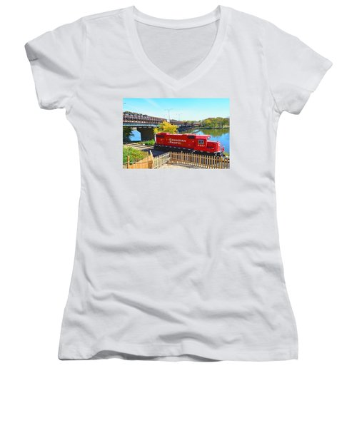 Solo Red Canadian Pacific Engine Along Rock River In Rockford Women's V-Neck (Athletic Fit)