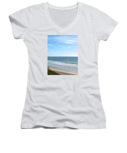 Solo Walk On Southern California Beach Women's V-Neck T-Shirt (Junior Cut) by Connie Fox