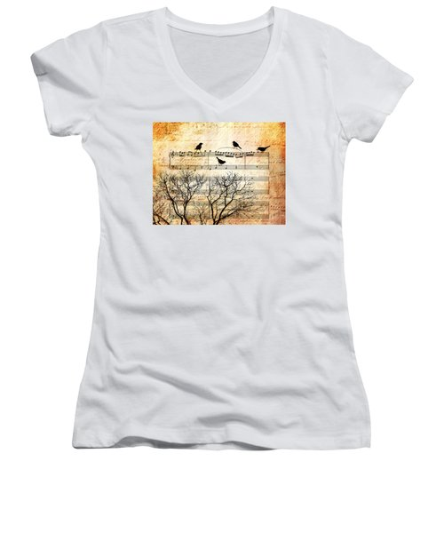 Songbirds Women's V-Neck T-Shirt (Junior Cut) by Gary Bodnar