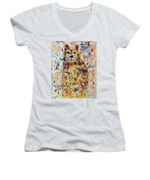 Sophisticated Cat 3 Women's V-Neck T-Shirt