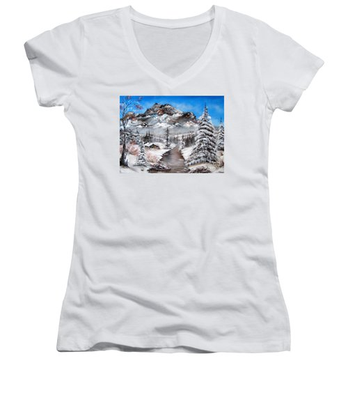 Women's V-Neck T-Shirt (Junior Cut) featuring the painting South Dakota Morning by Patrice Torrillo