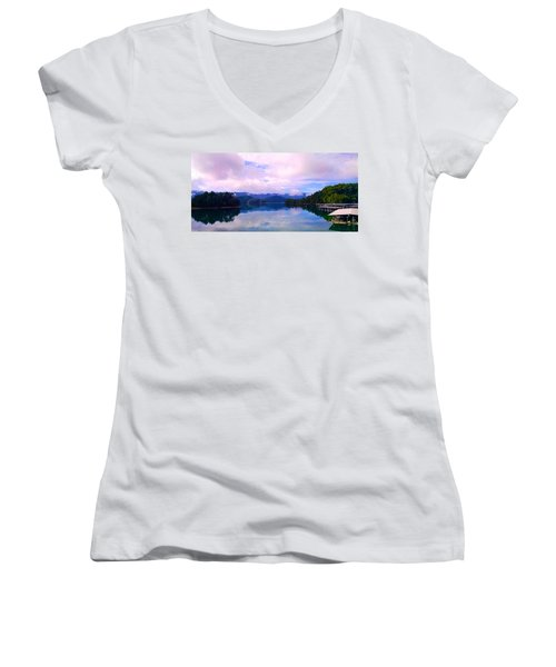 South Holston Lake Tn Women's V-Neck (Athletic Fit)