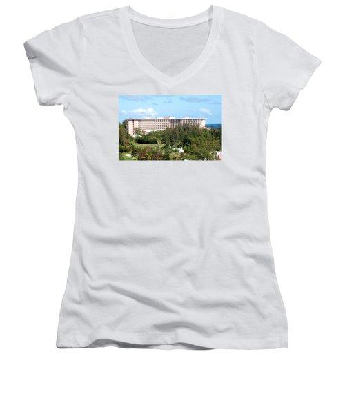 Southhampton Princess Bermuda Women's V-Neck T-Shirt (Junior Cut) by Ian  MacDonald