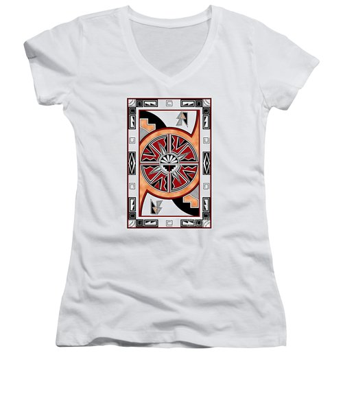 Southwest Collection - Design Six In Red Women's V-Neck T-Shirt