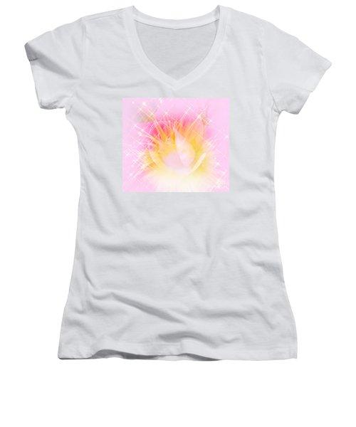 Women's V-Neck T-Shirt (Junior Cut) featuring the photograph Sparkling Starlight Burst Abstract by Judy Palkimas