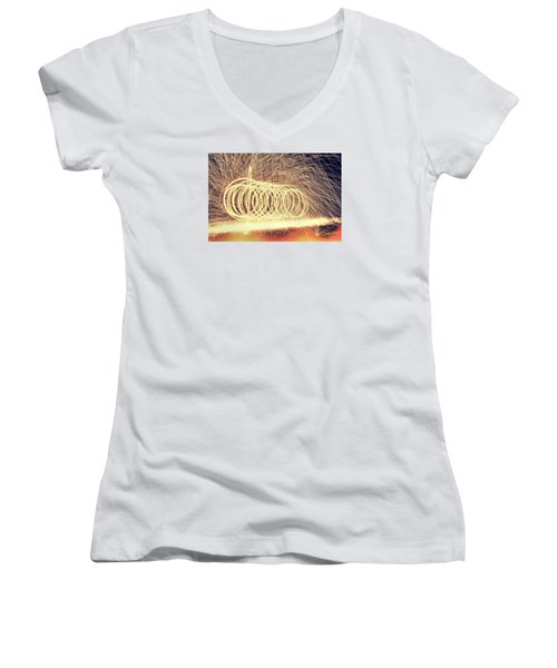 Sparks Women's V-Neck T-Shirt (Junior Cut) by Dan Sproul