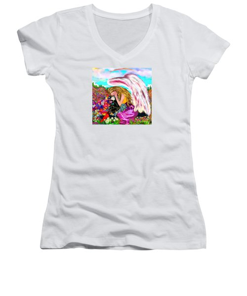 Spiritual Awakening  Women's V-Neck T-Shirt (Junior Cut) by Lori  Lovetere