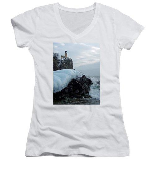 Women's V-Neck T-Shirt (Junior Cut) featuring the photograph Split Rock Lighthouse Winter by James Peterson