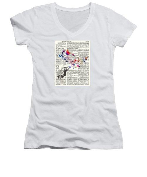 Spray Natura Graffiti Art Print Women's V-Neck T-Shirt