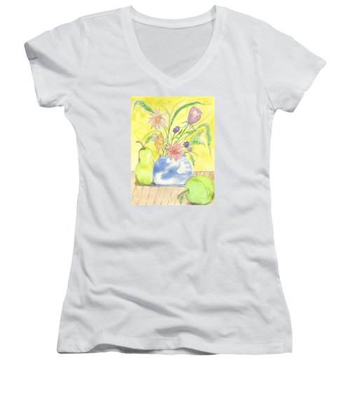 Spring Bouquet Women's V-Neck T-Shirt (Junior Cut)