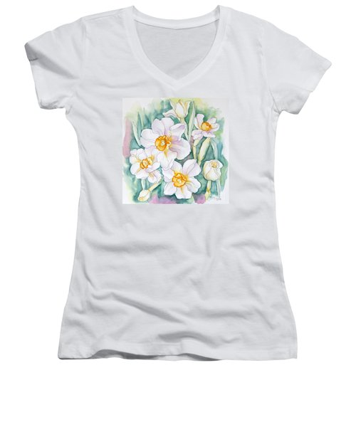 Spring Daffodils Women's V-Neck (Athletic Fit)