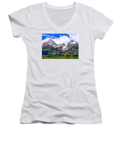Women's V-Neck T-Shirt (Junior Cut) featuring the painting Spring In The Grand Tetons by Michael Pickett