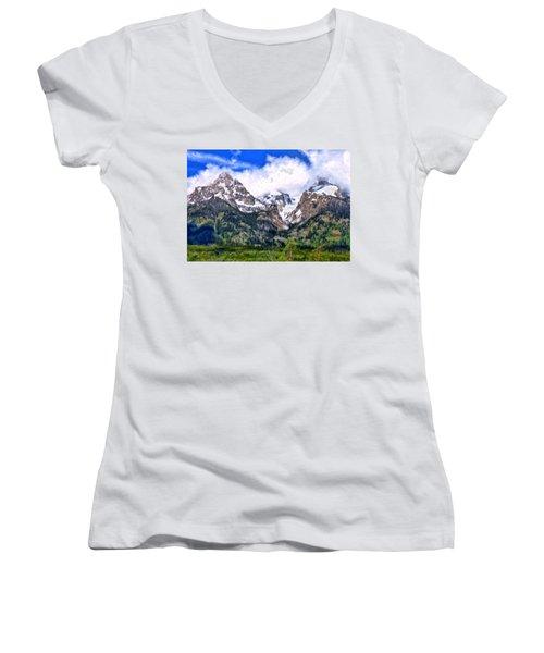 Spring In The Grand Tetons Women's V-Neck T-Shirt (Junior Cut) by Michael Pickett