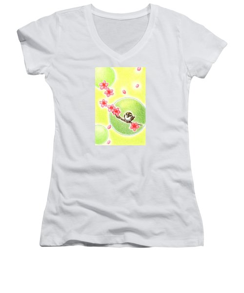Women's V-Neck T-Shirt (Junior Cut) featuring the drawing Spring by Keiko Katsuta