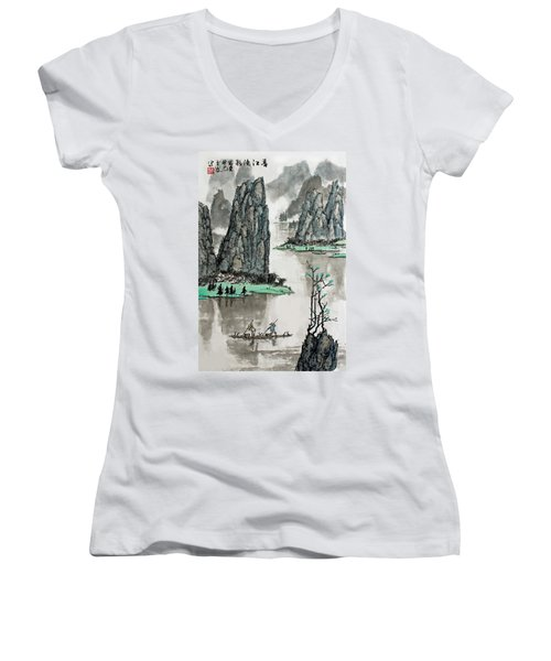 Women's V-Neck T-Shirt (Junior Cut) featuring the photograph Spring River by Yufeng Wang
