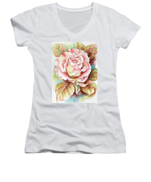 Spring Rose Women's V-Neck T-Shirt