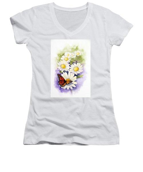 Springtime Daisies  Women's V-Neck T-Shirt