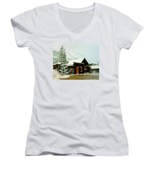 Women's V-Neck T-Shirt (Junior Cut) featuring the painting St Elmo Snow by Craig T Burgwardt
