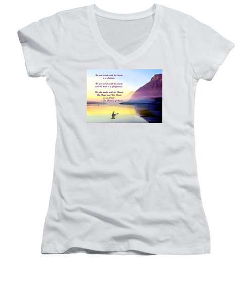 St Francis Of Assisi Quotation Women's V-Neck
