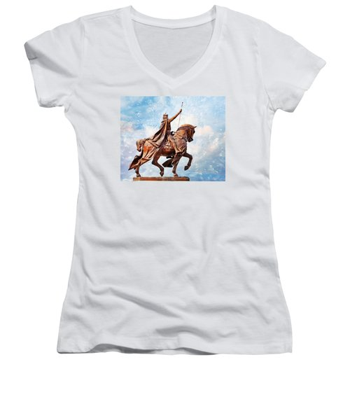 Women's V-Neck T-Shirt (Junior Cut) featuring the photograph St. Louis 3 by Marty Koch