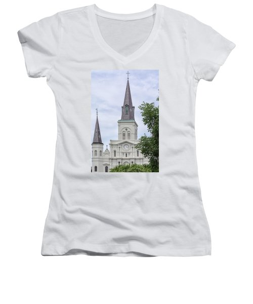 St. Louis Cathedral Through Trees Women's V-Neck